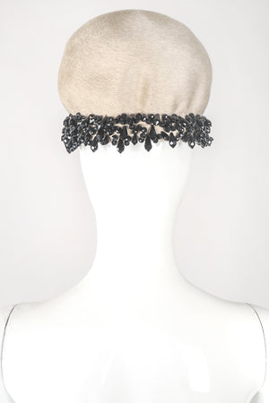 Recess Los Angeles Designer Consignment Vintage Christian Dior Beaded Beaver Fur Felt Puff Hat