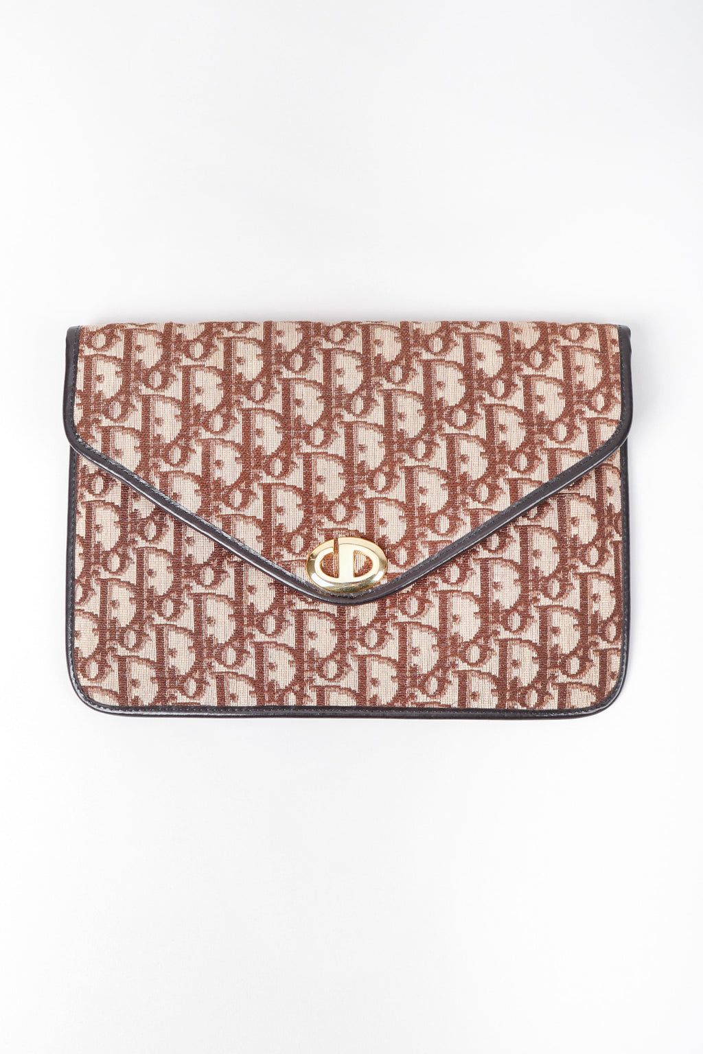 Recess Los Angeles Vintage Christian Dior Leather Monogram Envelope Clutch