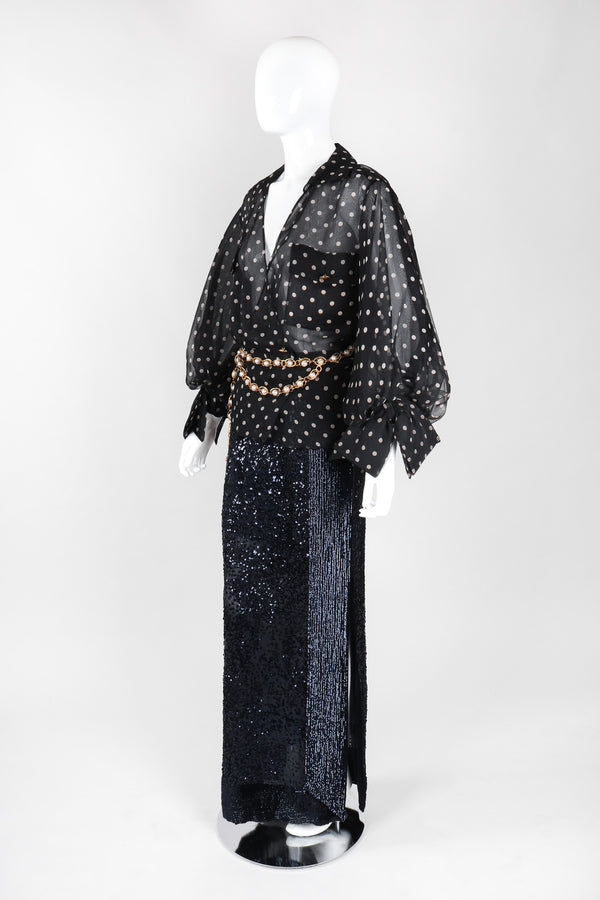 Recess Los Angeles Vintage Gianfranco Ferre Midnight Mini Sequin Chiffon Skirt
