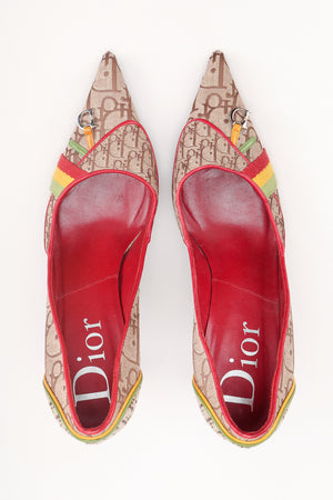 Recess Los Angeles Designer Consignment Resale Recycled Vintage Christian Dior John Galliano 2004 Rasta Collection Monogram Heels