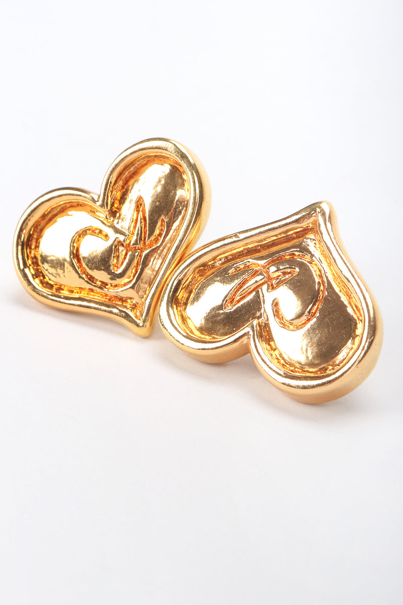 Recess Designer Consignment Vintage Christian Lacroix Logo Heart Button Earrings Los Angeles Resale
