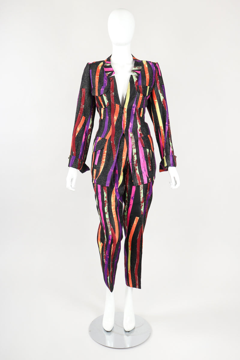 Recess Designer Consignment Vintage Christian Lacroix 90s Sponge Splatter Stripe Jacket & Pant Suit Set Los Angeles Resale