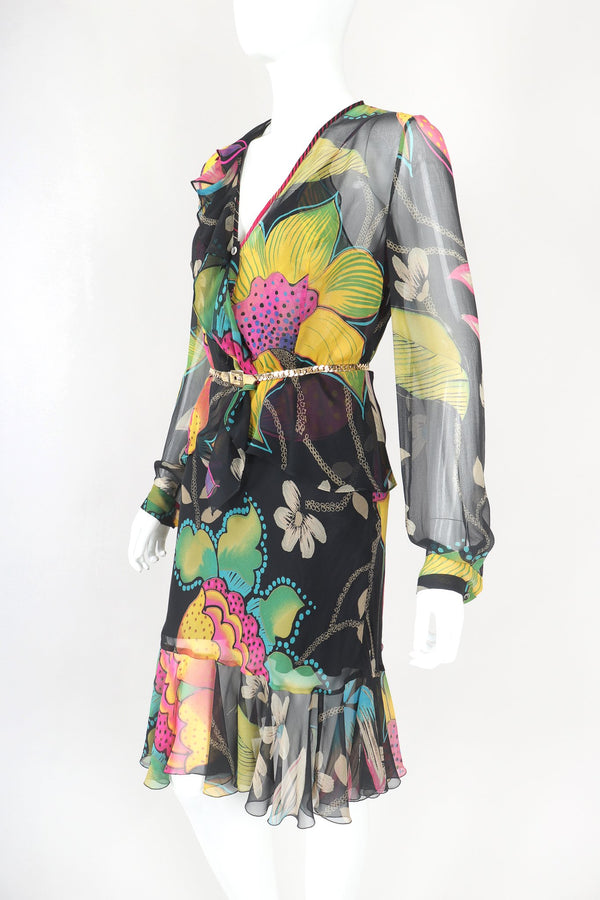 Recess Designer Consignment Vintage Christian Lacroix Sheer Floral Silk Chiffon 3-Piece Skirt Top Blouse Set Ensemble Los Angeles Resale