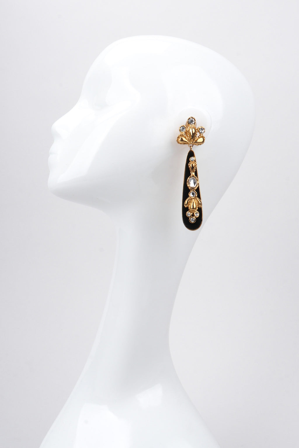 Recess Los Angeles Vintage 90s Christian Lacroix Jeweled Baroque Velvet Teardrop Earrings