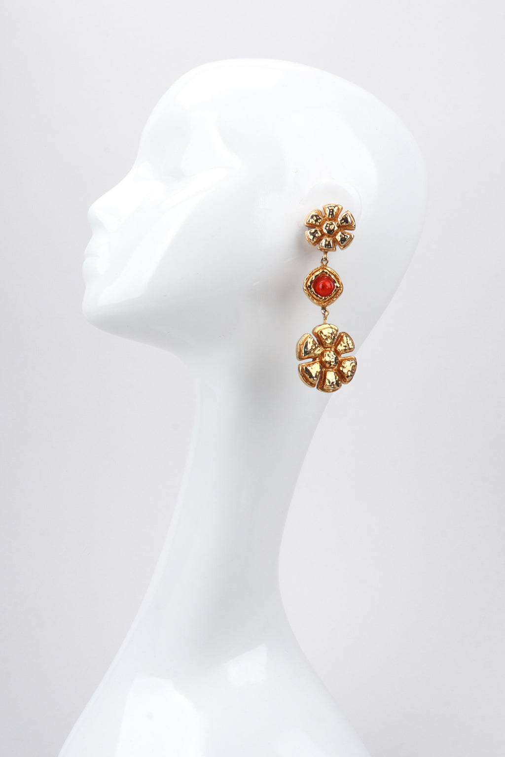 Recess Los Angeles Vintage 90s Christian Lacroix Golden Daisy Drop Shoulder Duster Earrings
