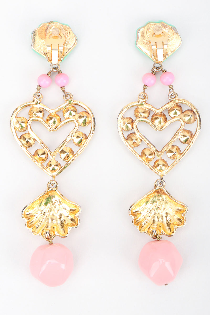 Recess Los Angeles Designer Consignment Resale Recycling Vintage Christian Lacroix Mermaid Shell Crystal Heart Drop Earrings