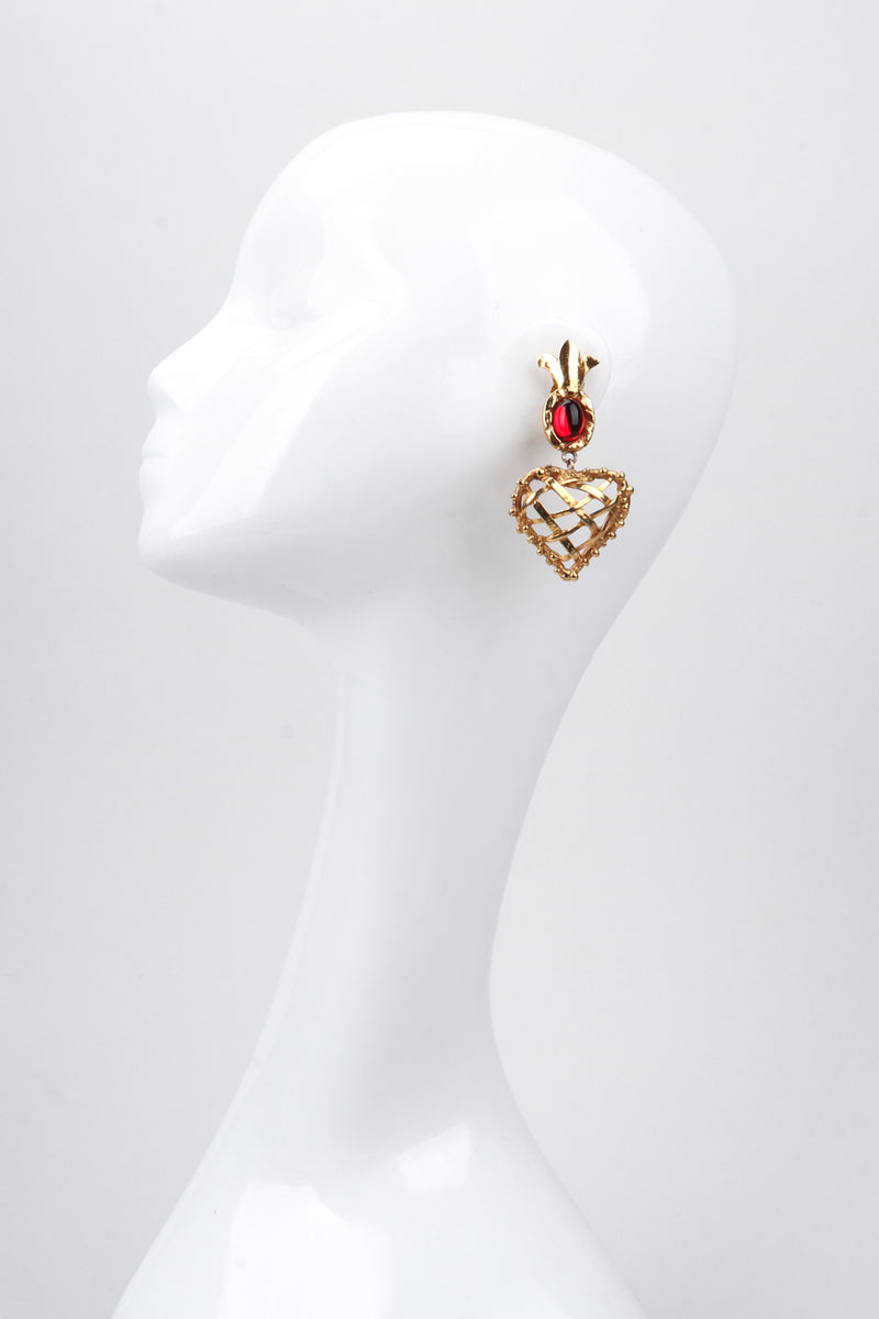 Recess Los Angeles Vintage Christian Lacroix Woven Pineapple Heart Crown Earrings