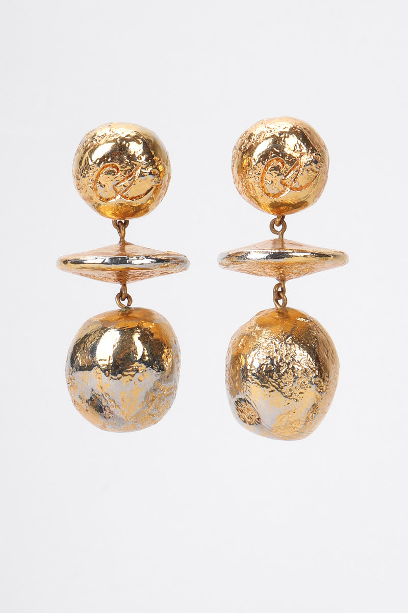 Recess Los Angeles Vintage Christian Lacroix 90s Gold Saucer Ball Drop Earrings