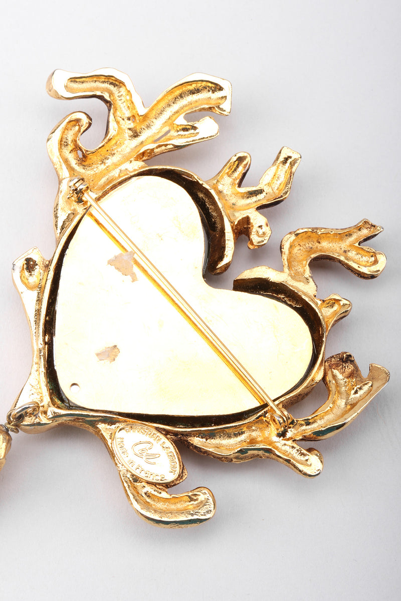 Recess Los Angeles Vintage Christian Lacroix Baroque Sea Glass Coral Branch Heart Brooch