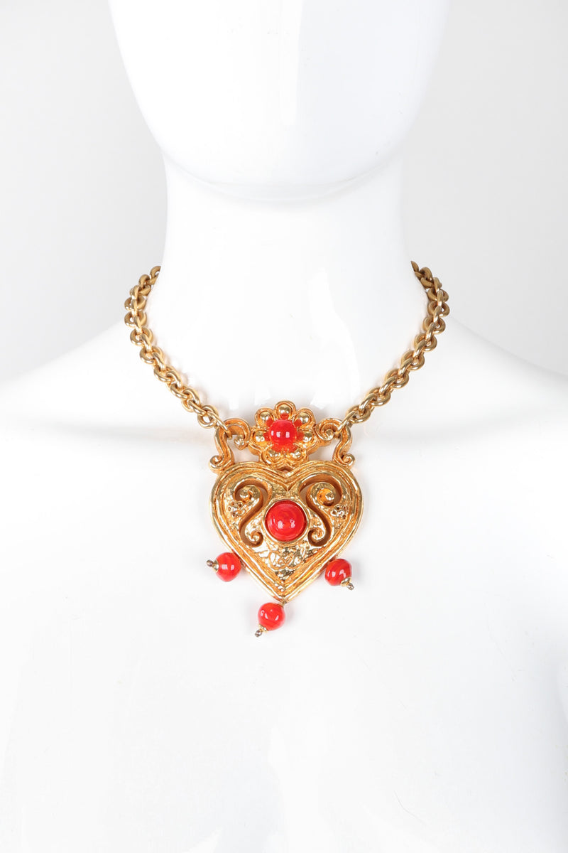 Recess Los Angeles Vintage Christian Lacroix Baroque Carved Heart Collar Necklace