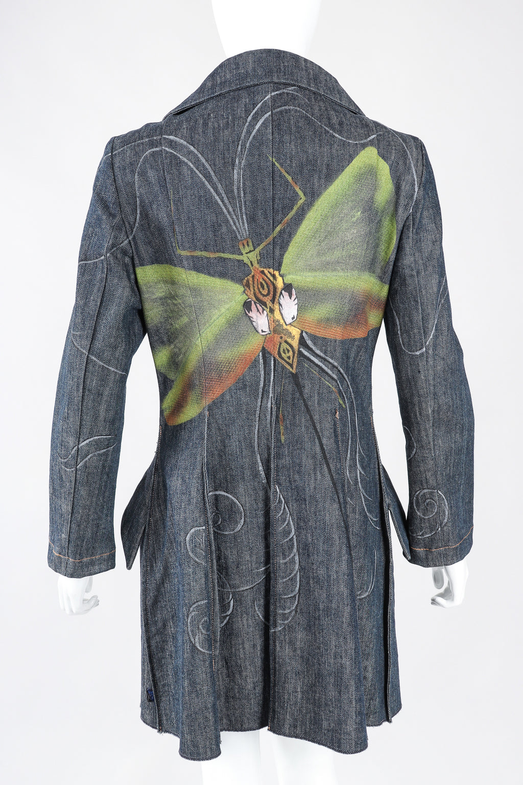 Recess Los Angeles Designer Consignment Vintage Christian Lacroix Hand Painted Moth Insect Denim Princess Coat