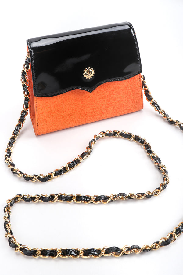 Recess Designer Consignment Vintage Christian Lacroix Mini Crossbody Patent Leather Flap Bag Los Angeles Resale