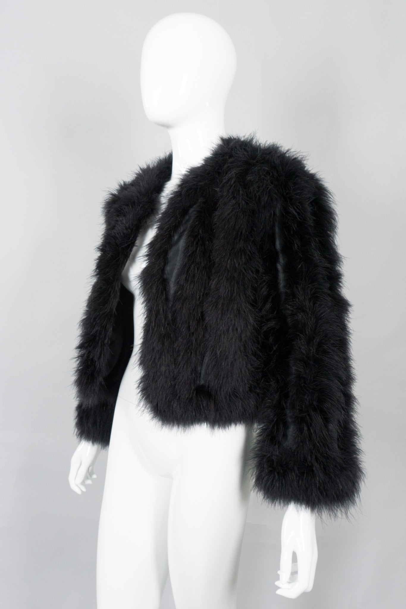 Vintage Chubby Marabou Feather Open Jacket