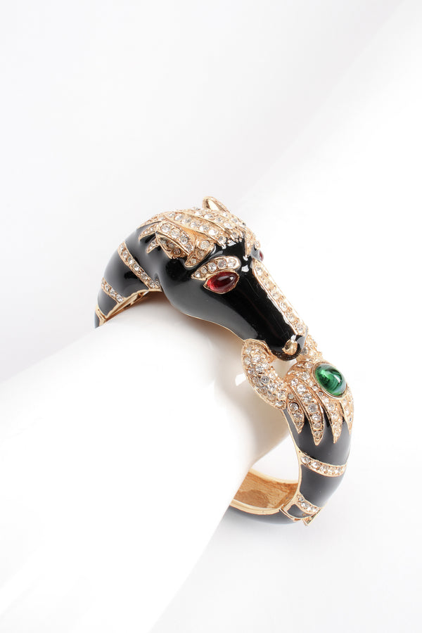 Vintage Ciner Enamel Jeweled Horse Bangle Bracelet on mannequin at Recess Los Angeles