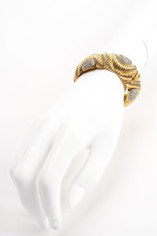 Vintage Ciner Ribbed Rhinestone Bracelet on mannequin at Recess Los Angeles