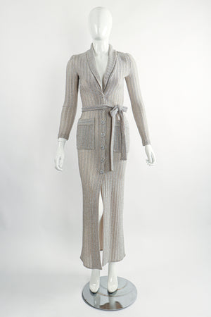 Vintage John Kloss for Cira Long Sheer Metallic Duster Sweater On Mannequin Front at Recess LA