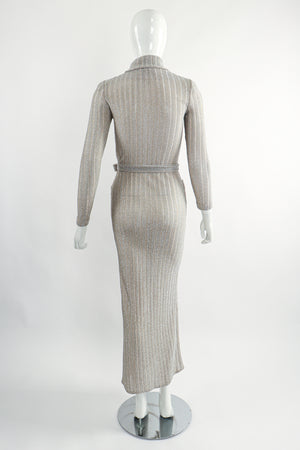 Vintage John Kloss for Cira Long Sheer Metallic Duster Sweater On Mannequin Back at Recess LA