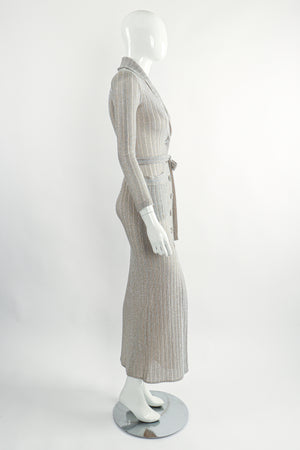 Vintage John Kloss for Cira Long Sheer Metallic Duster Sweater On Mannequin Side at Recess LA