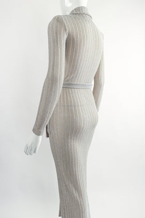 Vintage John Kloss for Cira Long Sheer Metallic Duster Sweater On Mannequin Back Crop at Recess LA