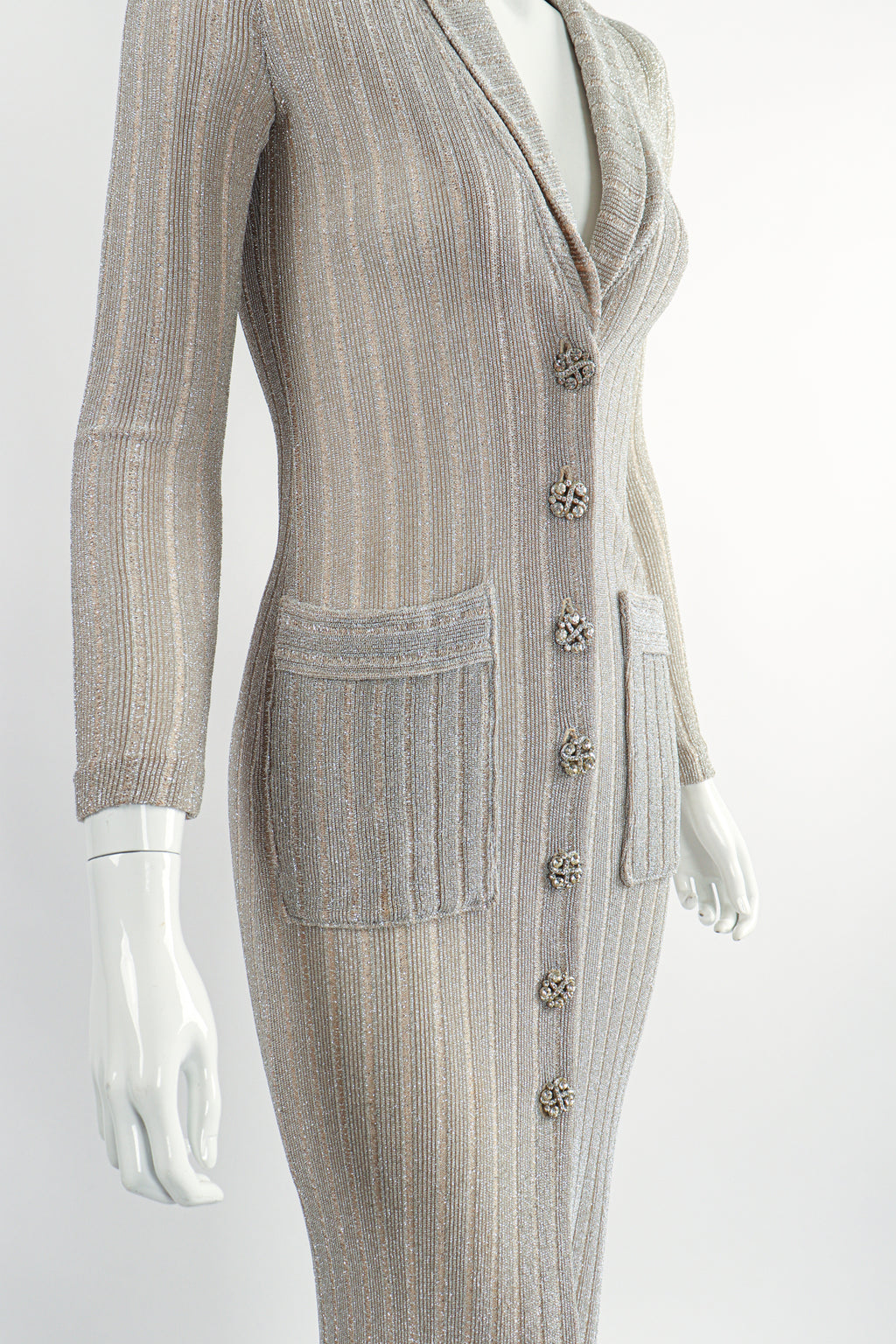 Vintage John Kloss for Cira Long Sheer Metallic Duster Sweater On Mannequin Crop at Recess LA