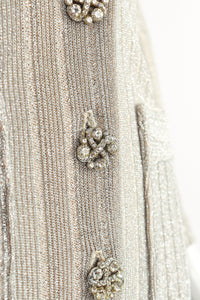 Vintage John Kloss for Cira Long Sheer Metallic Duster Sweater Button Detail at Recess LA