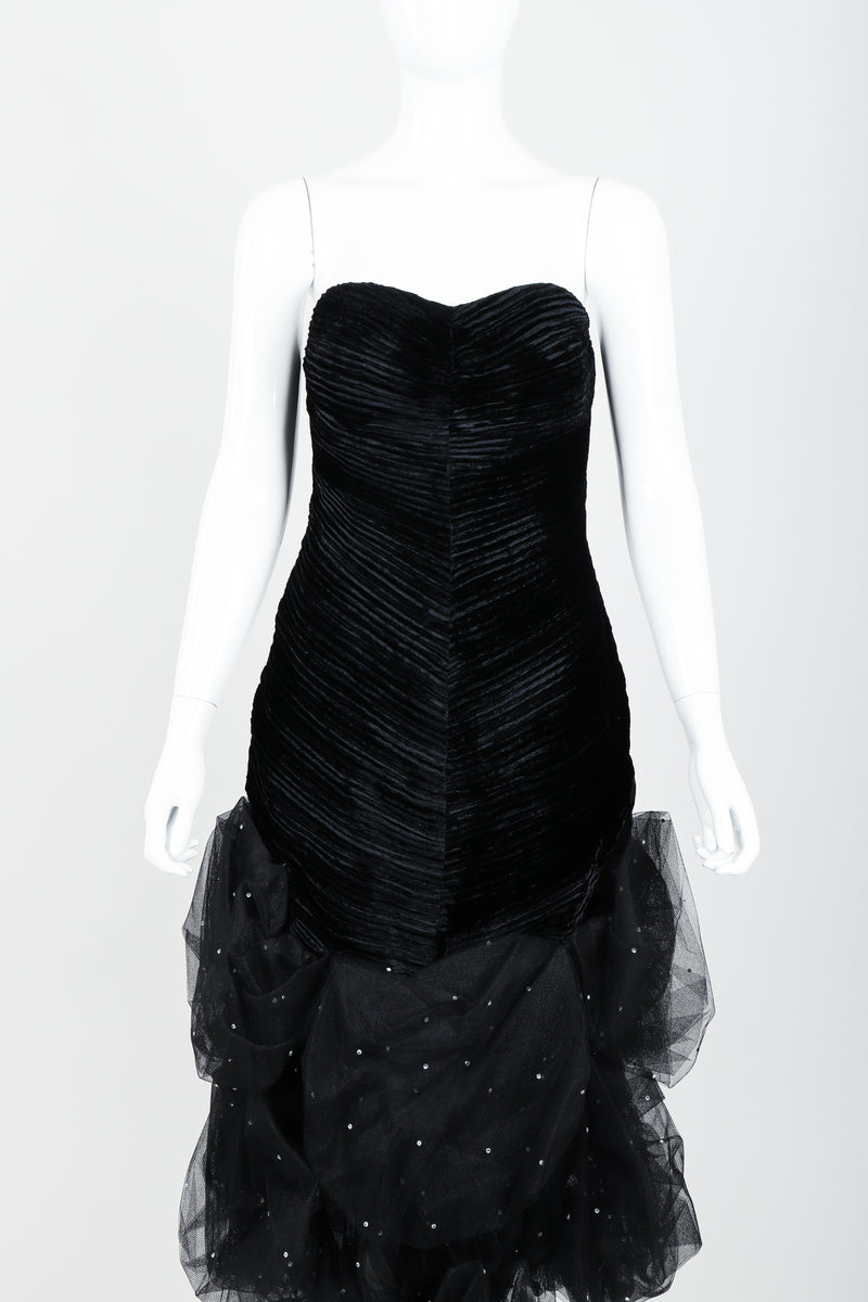 Vintage Claude Pétin Velvet Pouf Midi Dress on Mannequin front crop at Recess Los Angeles