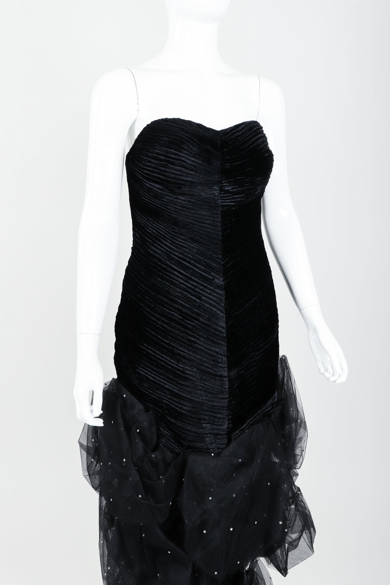 Vintage Claude Pétin Velvet Pouf Midi Dress on Mannequin angle crop at Recess Los Angeles