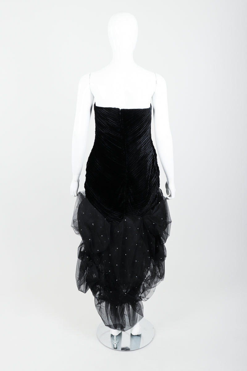 Vintage Claude Pétin Velvet Pouf Midi Dress on Mannequin back at Recess Los Angeles