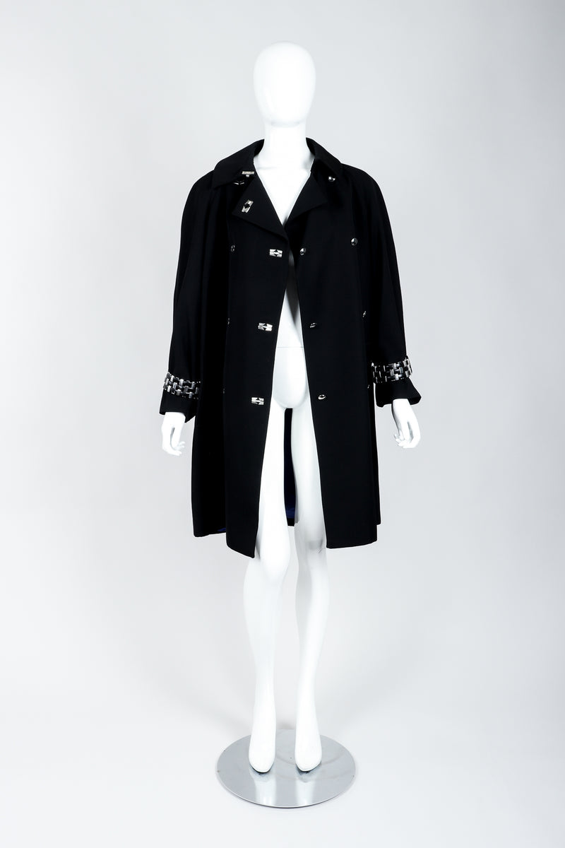 Vintage Claude Montana Hardware Cuff Bracelet Trench Coat on Mannequin open at Recess Los Angeles
