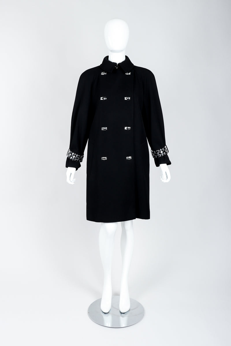 Vintage Claude Montana Hardware Cuff Bracelet Trench Coat on Mannequin front at Recess Los Angeles