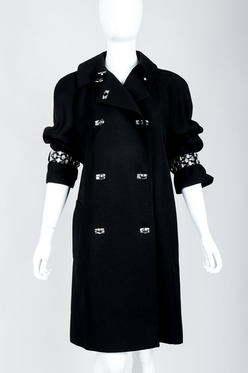 Vintage Claude Montana Hardware Cuff Bracelet Trench Coat on Mannequin front crop at Recess Los Angeles