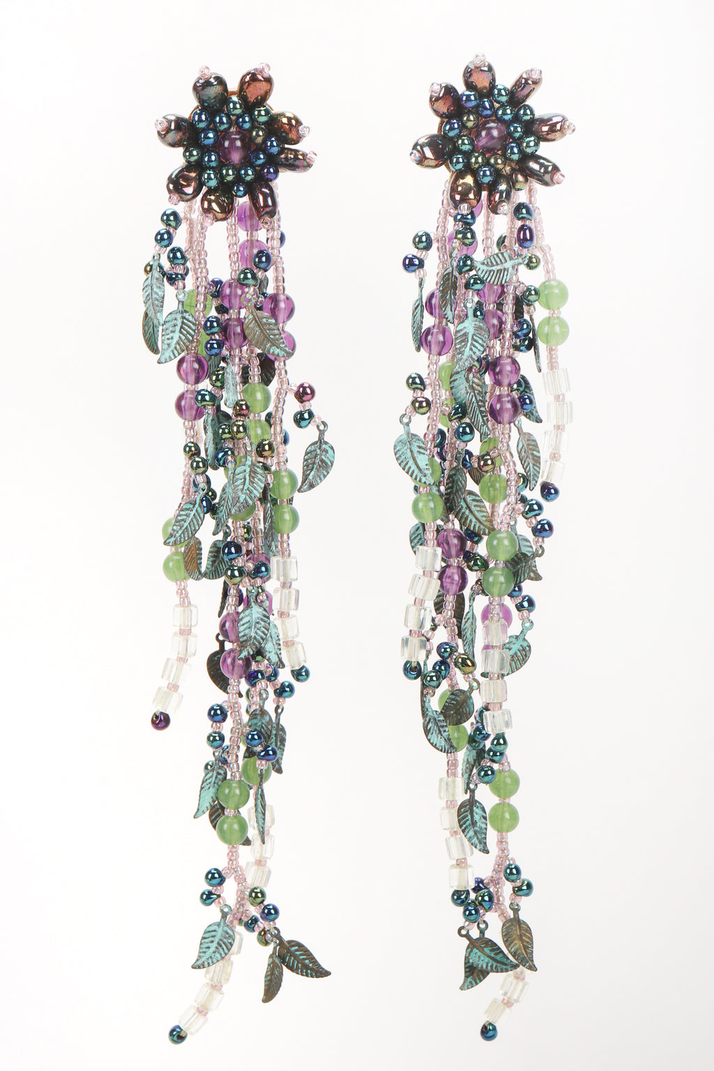 Recess Designer Consignment Vintage Colleen Toland Beaded Leaf Drop Fringe Shoulder Duster Earring Los Angeles Resale