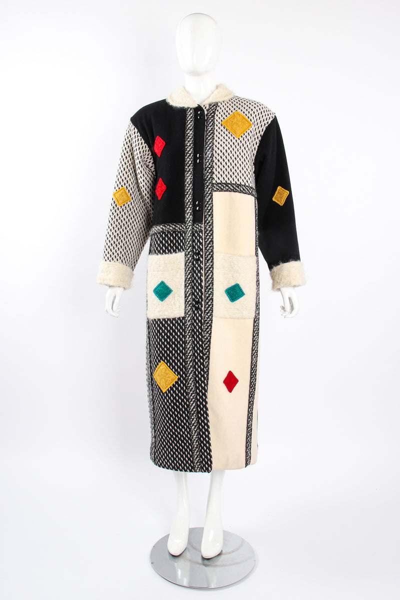 Vintage Coloratura Diamond Mondrian Car Coat on Mannequin front at Recess Los Angeles