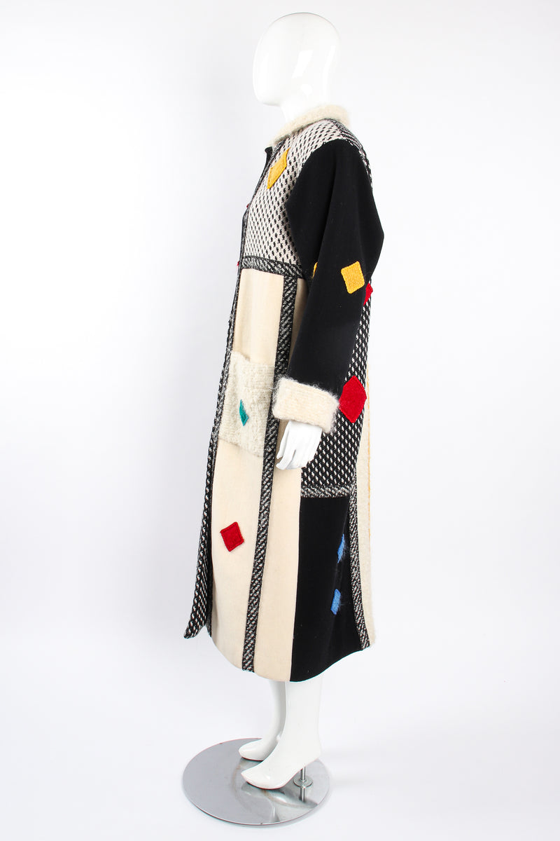 Vintage Coloratura Diamond Mondrian Car Coat on Mannequin side at Recess Los Angeles