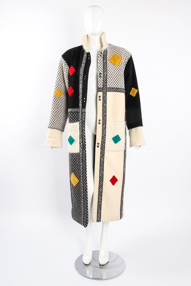 Vintage Coloratura Diamond Mondrian Car Coat on Mannequin open at Recess Los Angeles