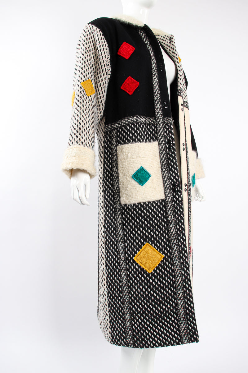 Vintage Coloratura Diamond Mondrian Car Coat on Mannequin angle at Recess Los Angeles