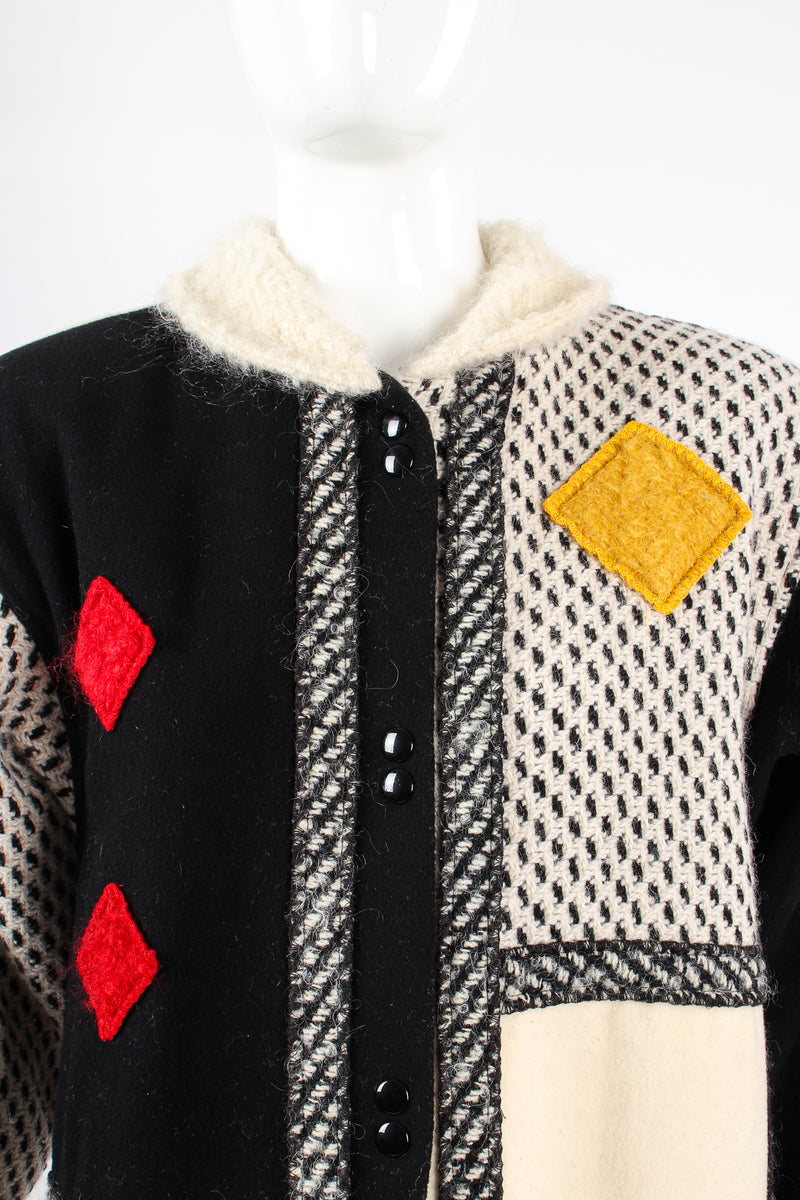Vintage Coloratura Diamond Mondrian Car Coat on Mannequin neck at Recess Los Angeles