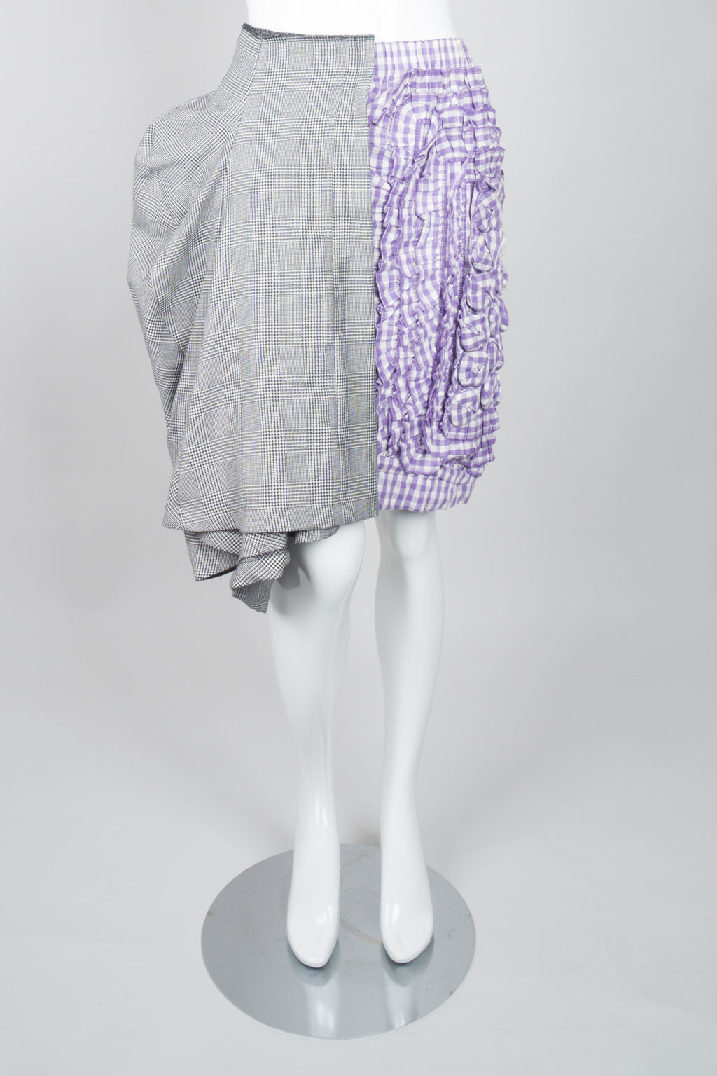 Comme des Garçons Mixed Media Draped Panel Gingham Skirt