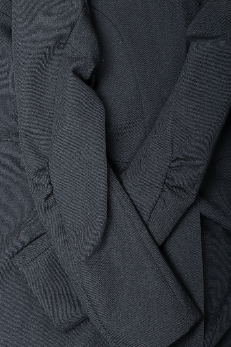 Recess Vintage Comme des Garcons Black Shawl Collar Cutaway Coat sleeve detail
