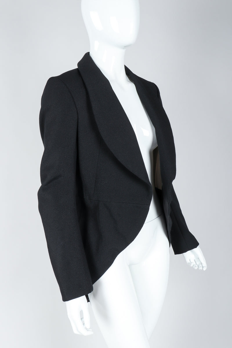 Recess Vintage Comme des Garcons Black Shawl Collar Cutaway Coat on Mannequin, angled