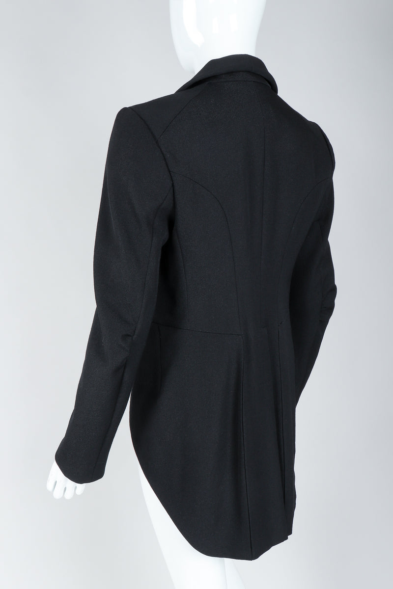 Recess Vintage Comme des Garcons Black Shawl Collar Cutaway Coat on Mannequin, tails