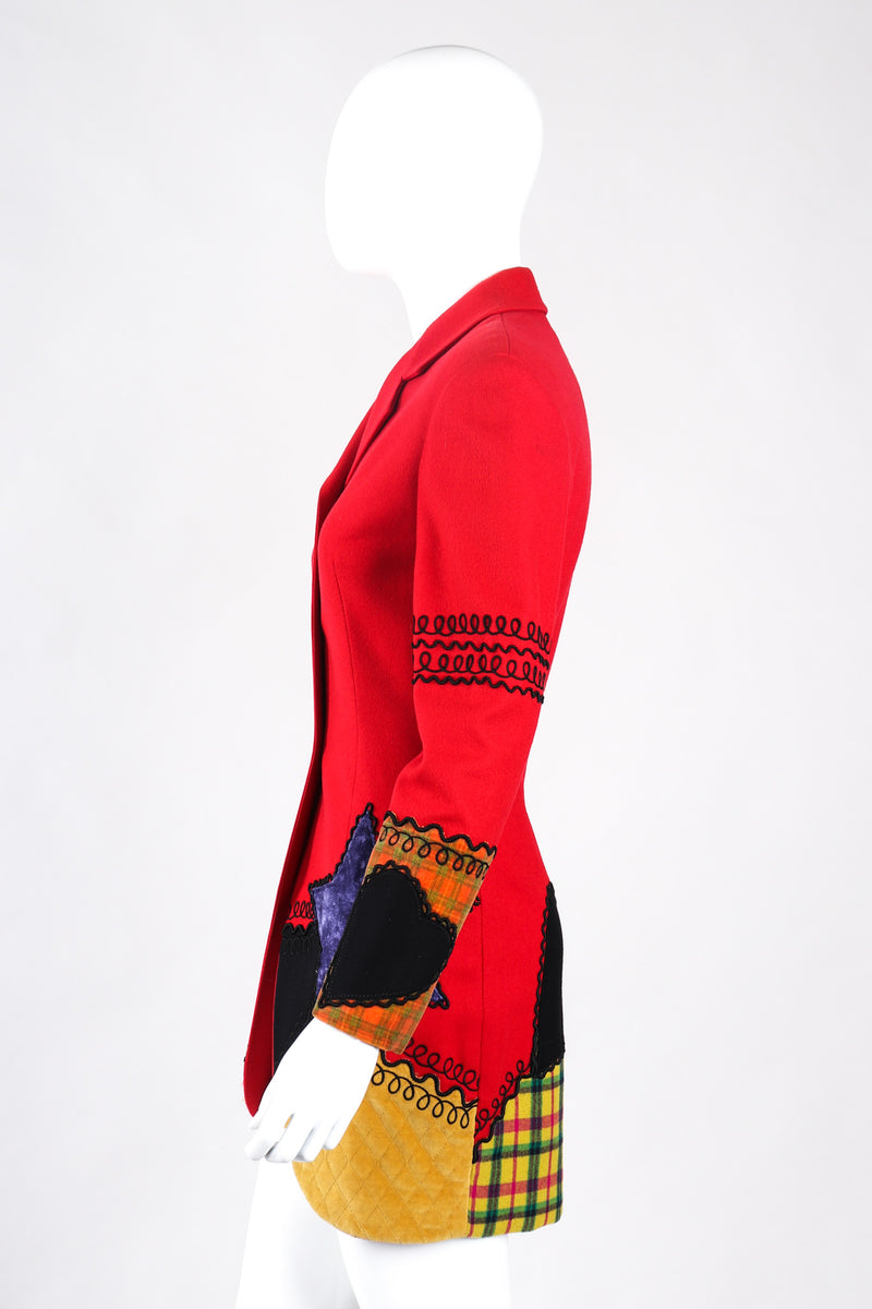 Recess Los Angeles Vintage Complice Multicolor Red Velvet Stars Hearts Patchwork Embroidery Wool Suit Jacket