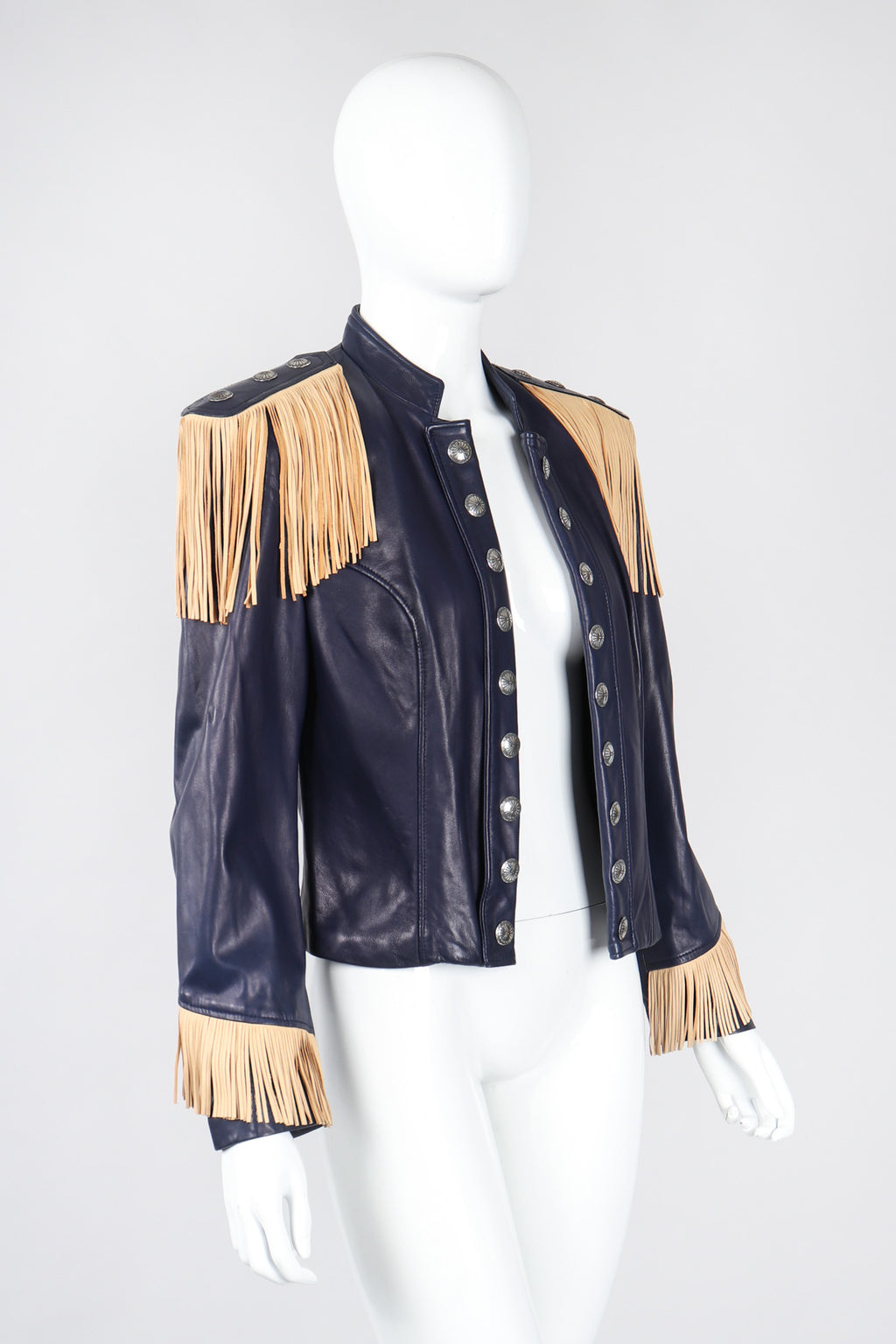 Recess Los Angeles Vintage Continental Fringed Epaulette Cavalry Leather Jacket