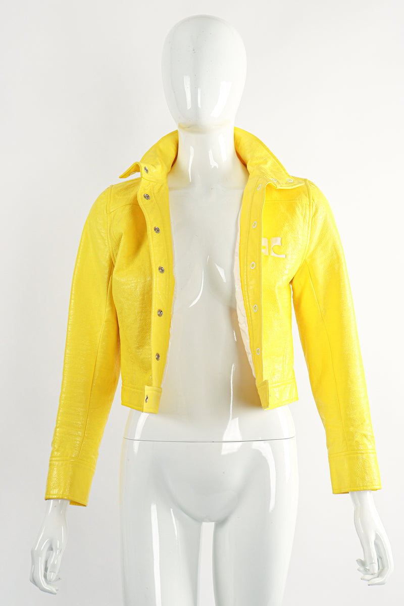 Vintage Courreges Yellow Patent Crinkle Jacket On Mannequin Front Open at Recess Los Angeles