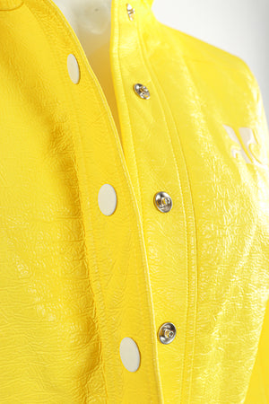 Vintage Courreges Yellow Patent Crinkle Jacket Snap Detail at Recess Los Angeles