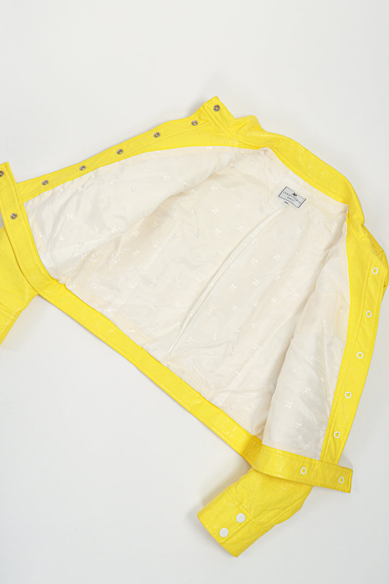 Vintage Courreges Yellow Patent Crinkle Jacket Lining at Recess Los Angeles