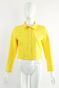 Vintage Courreges Yellow Patent Crinkle Jacket On Mannequin Front at Recess Los Angeles