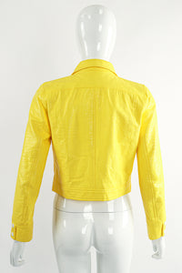 Vintage Courreges Yellow Patent Crinkle Jacket On Mannequin Back at Recess Los Angeles