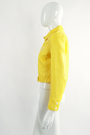 Vintage Courreges Yellow Patent Crinkle Jacket On Mannequin Side at Recess Los Angeles