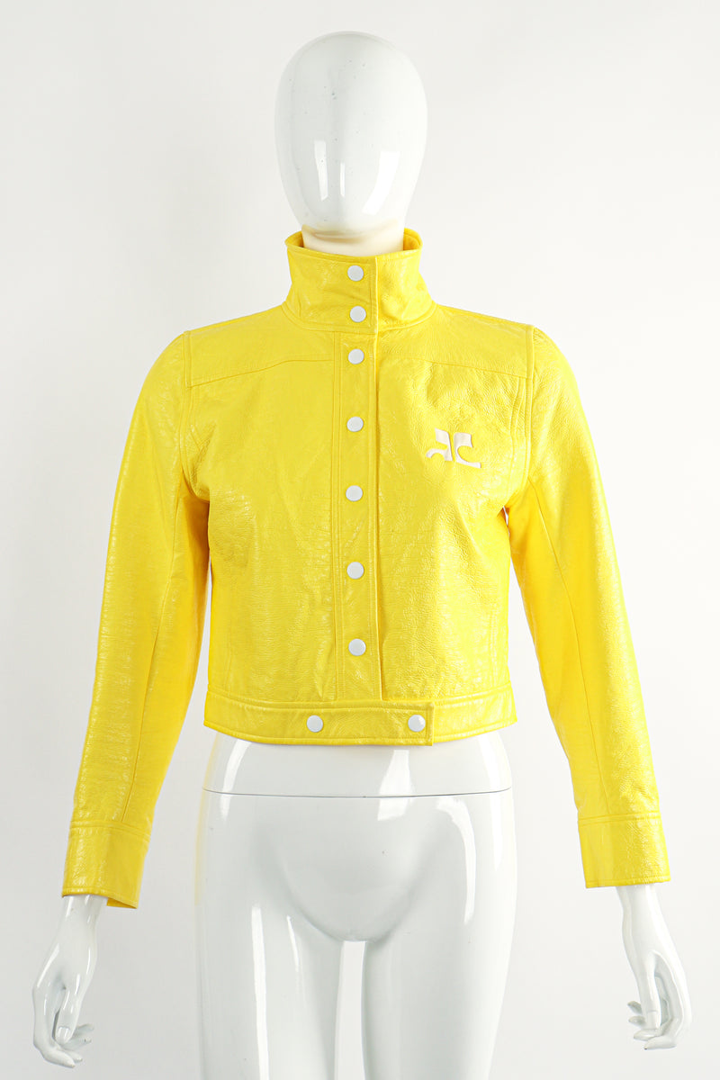 Vintage Courreges Yellow Patent Crinkle Jacket On Mannequin Front Buttoned at Recess Los Angeles